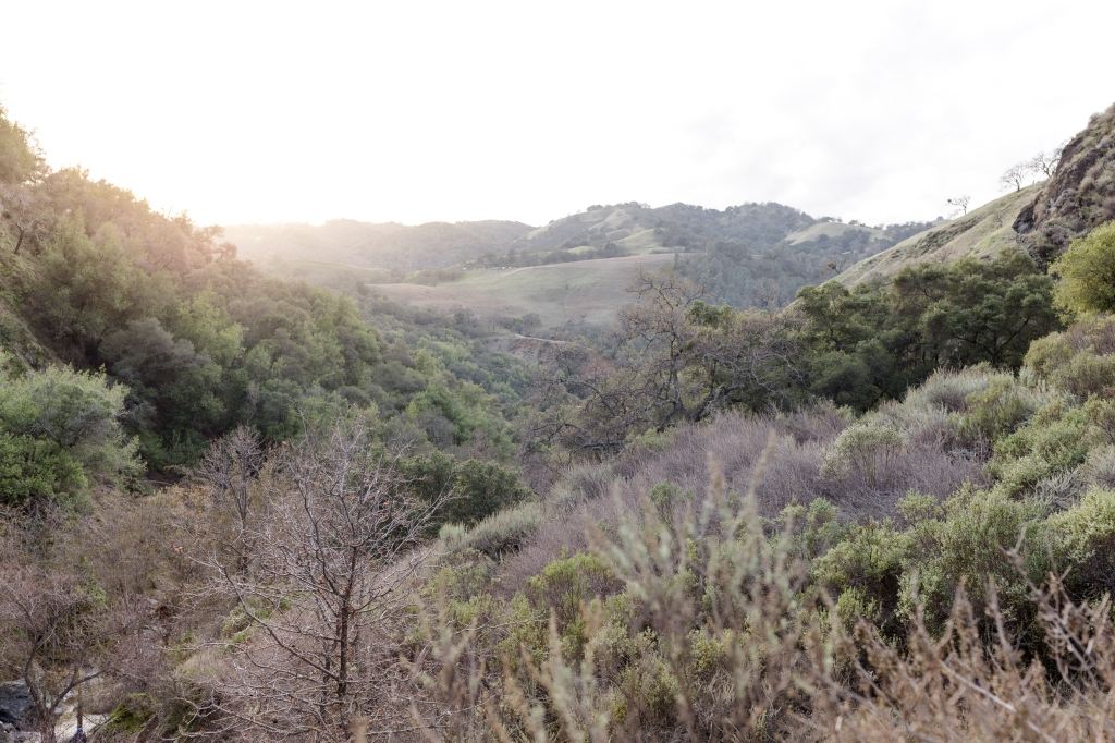 Sunset over the valley of Little Yosemite in Sunol, CA
