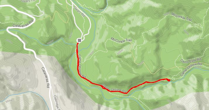Map of the hike to Little Yosemite in the Sunol Regional Wilderness
