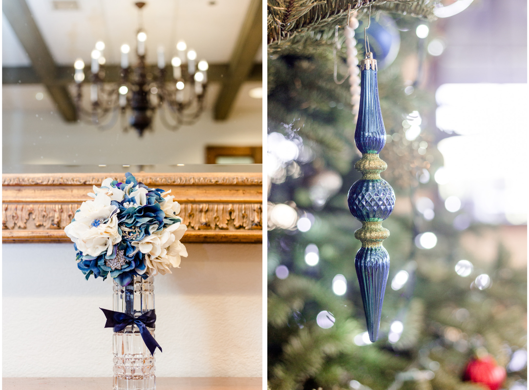 Details from a blue vintage themed Christmas wedding: bouquet and ornament