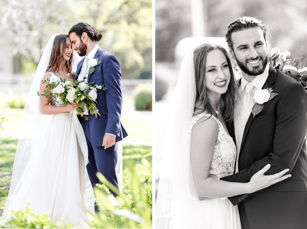 Bride and groom portraits with white floral bouquet