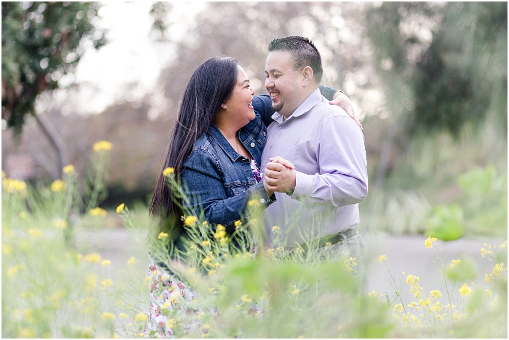 Couple at Vallejo Mills Historical Park near Niles Canyon, standing in the wildflowers