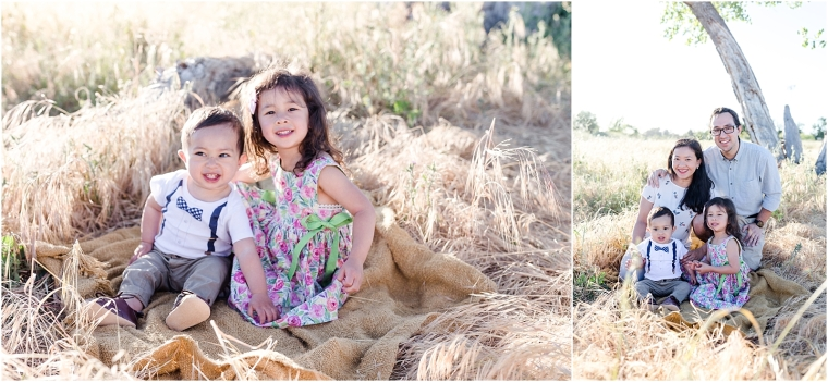 Family photo on the Arroyo Mocho Trail in Livermore, CA: two children sitting on a blanket
